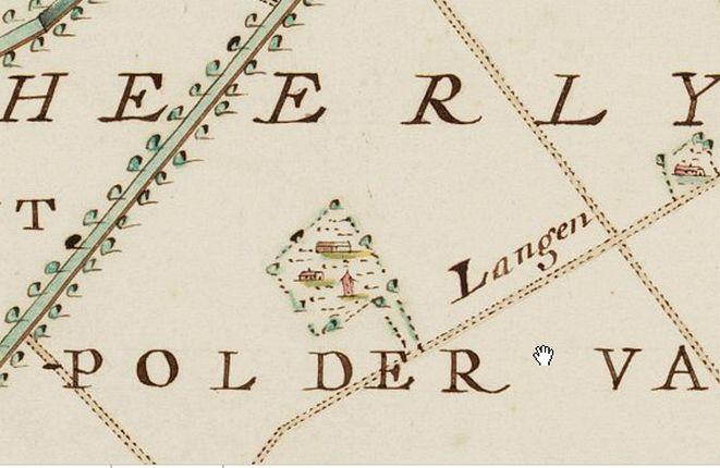 De Torenhoeve op de Hattingakaart van Tholen enz., opgenomen 1743-1744.