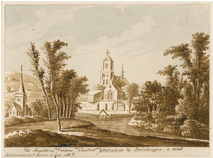 Het klooster Jeruzalem in 1546. Tek. A. de Haen, achttiende eeuw (ZA/ZI-II-1558).