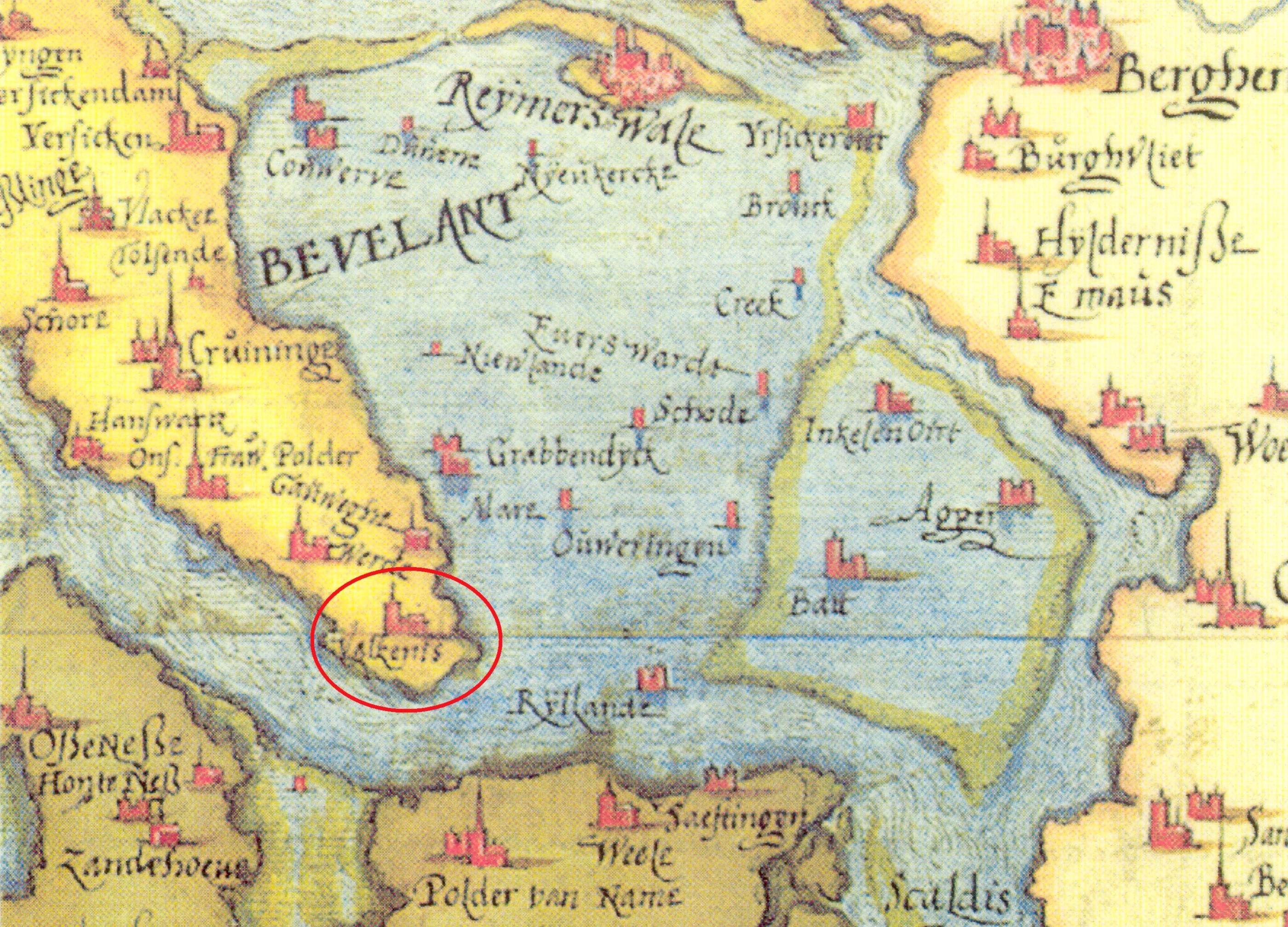 Het nog bestaande Valkenisse op een kaart van Chr. Sgrooten (1573).