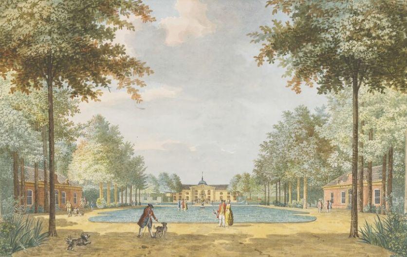 Voorzijde van de buitenplaats Sint Jan ten Heere, tekening door Jan Arends uit 1775. (Zeeuws Archief, coll. Zeeuws Genootschap, tekening Jan Arends)