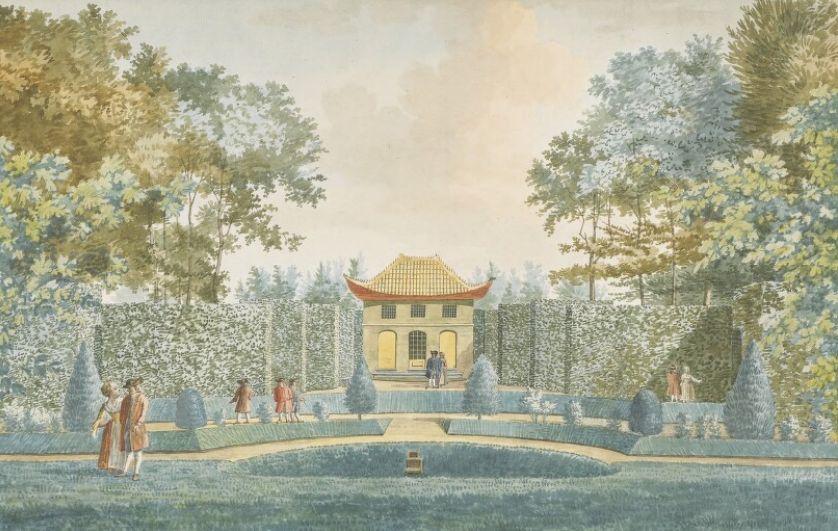 Chinese tempel in de tuin van Sint Jan ten Heere. (Zeeuws Archief, coll. Zeeuws Genootschap, tekening Jan Arends)