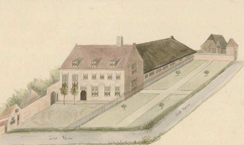 Het voormalig klooster Kerkwerve in de tijd dat het in bezit was van de familie Velters, eerste helft 17de eeuw. (Zeeuws Archief, coll. Zeeuws Genootschap)
