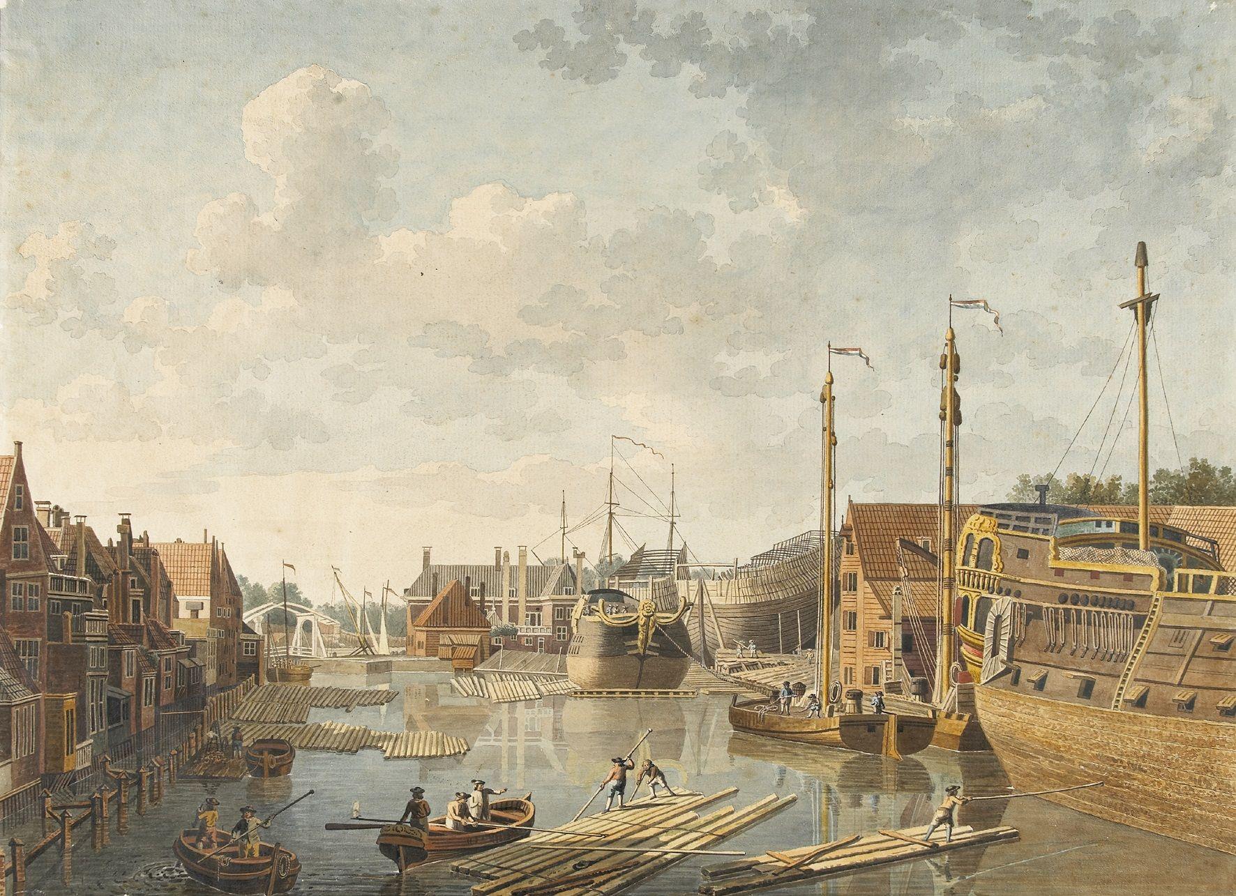 De Middelburgse VOC-werf. Tek. Jan Arends, 1778. ZA/ZI, Zelandia Illustrata.