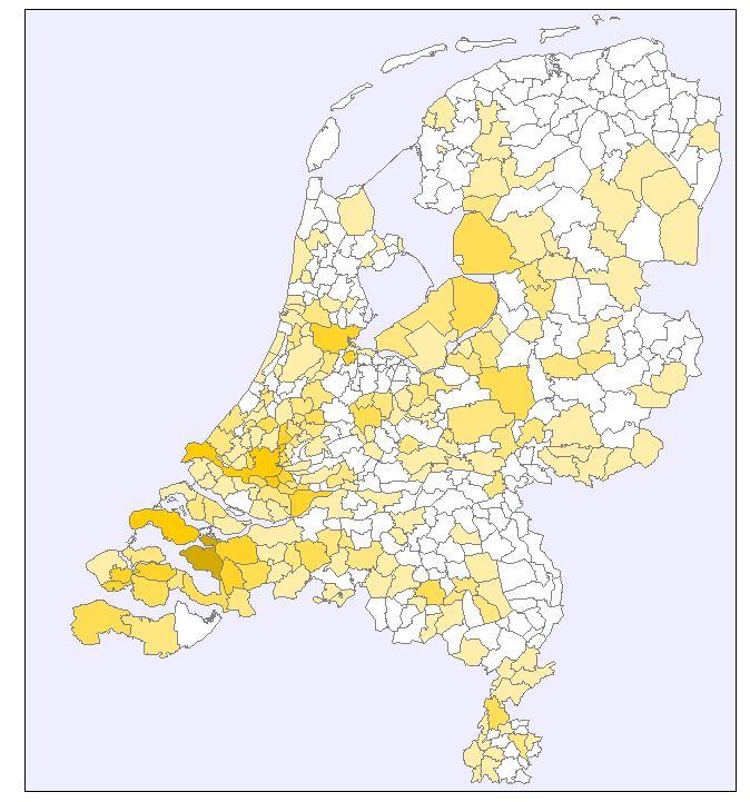 De familienaam Heijboer in Nederland in 2007 (familienamendatababank www.meertens.knaw.nl/nfb: hoe donkerder de kleur, hoe frequenter de naam voorkomt