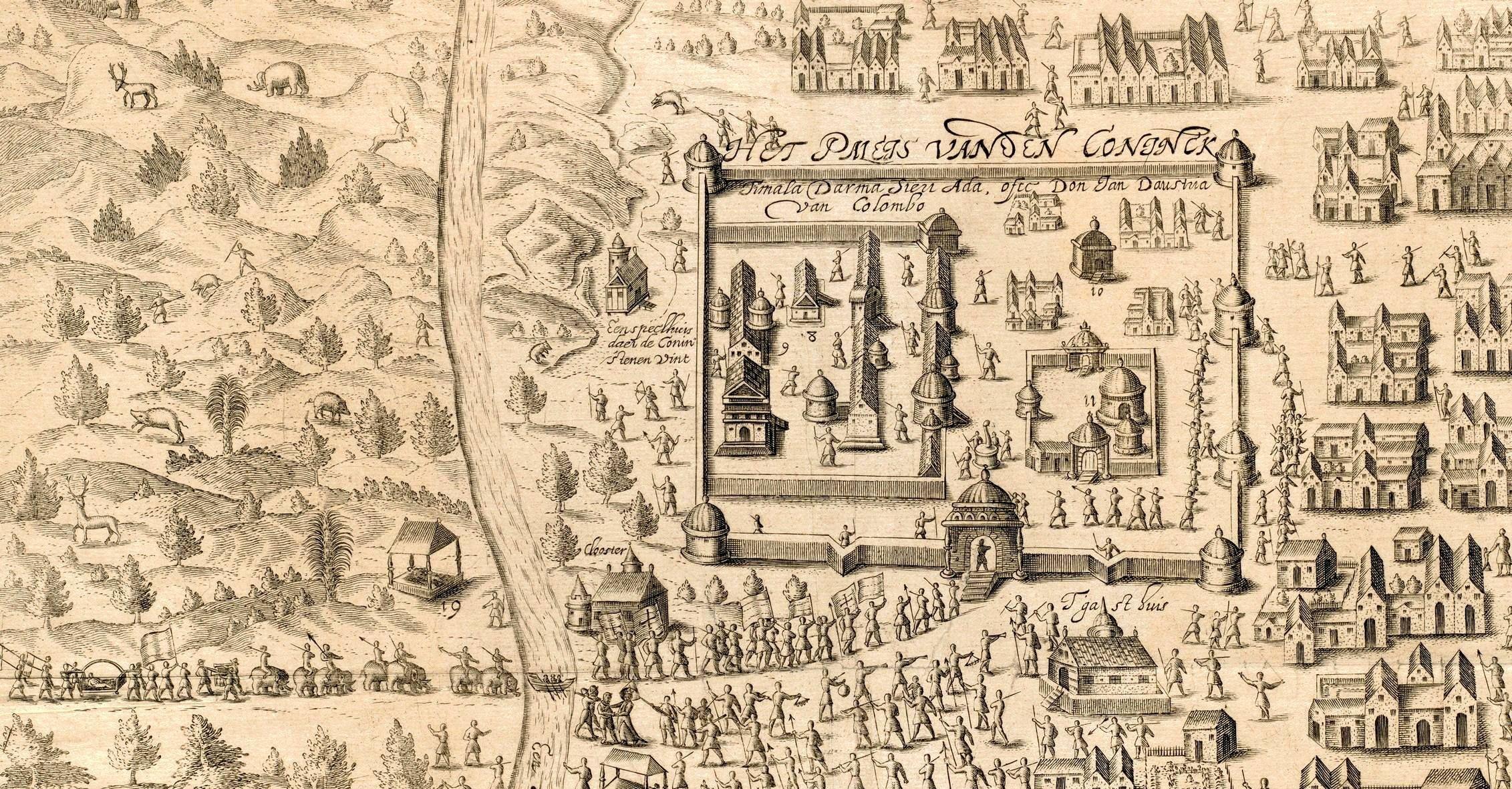 Aankomst Van Spilbergen bij de koning van Kandy, 1602. Houtsnede naar Floris Balthasarsz van Berckenrode, 1601-1604.