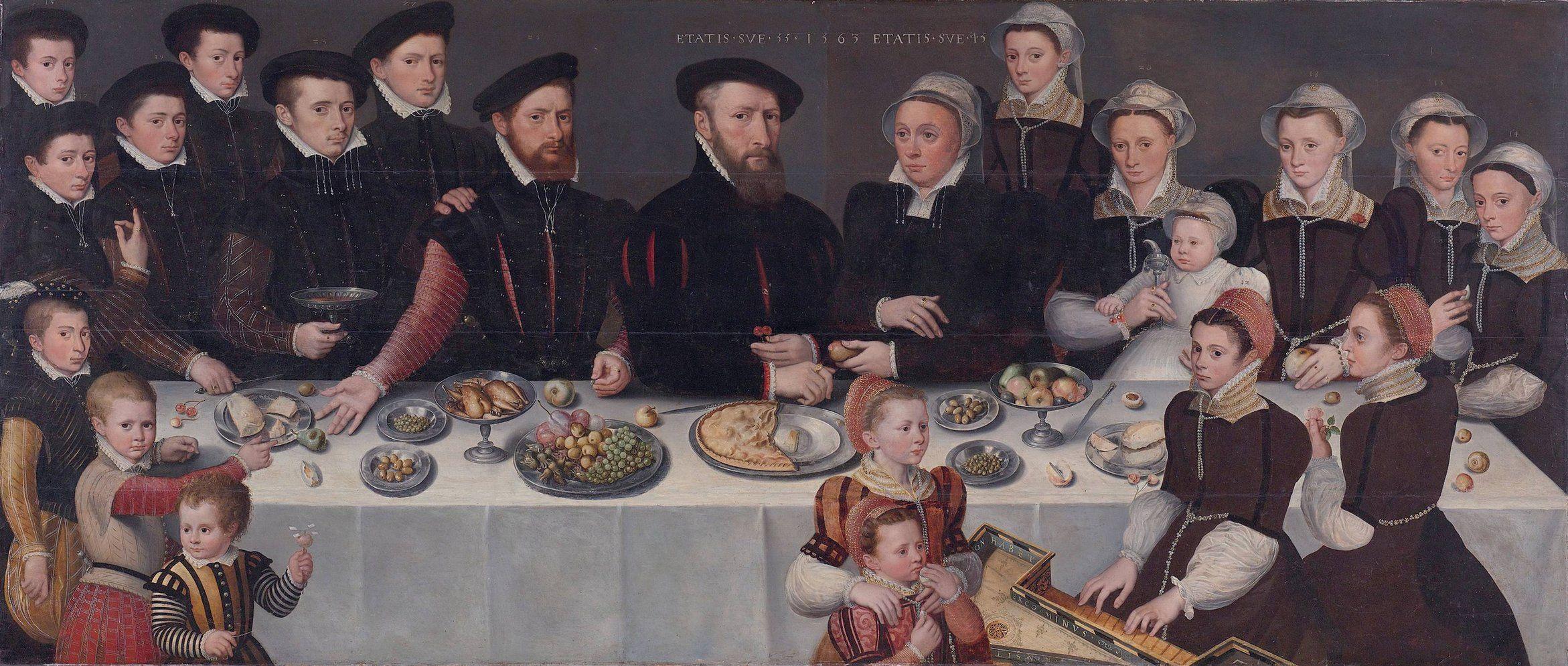 Familieportret (1563) van de familie De Moucheron. Zoon Balthasar, is waarschijnlijk de jongen uiterst links voren. Rijksmuseum, Amsterdam.