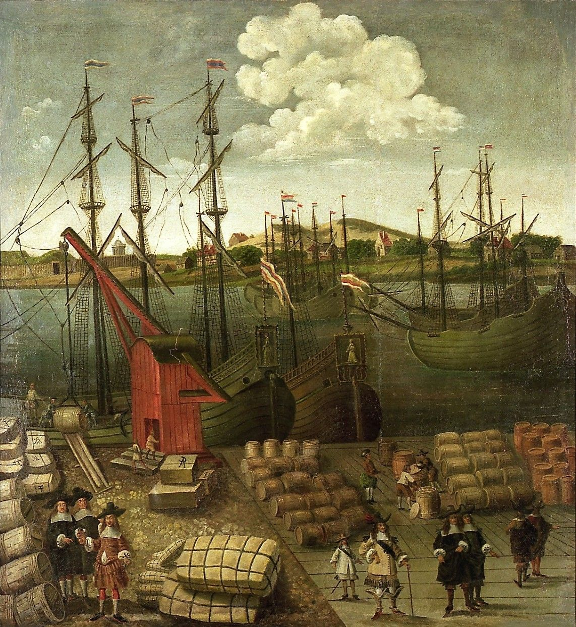 De haven van Riga omstreeks 1650. Op de kade balen hennep en vaten met zout, haring en wijn. (Collectie Museum of the History of Riga and Navigation, Latvia)