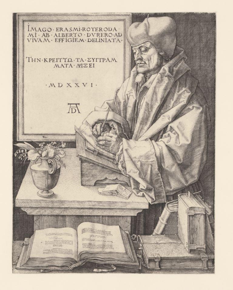 Portret van Erasmus. Prent door Albrecht Dürer, 1526. (Collectie Rijksmuseum)