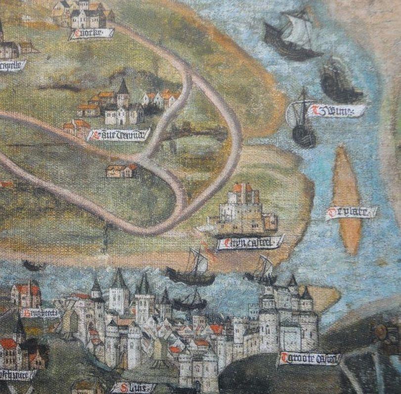 Sluis op een kaart van de Zwinstreek van Jan de Hervy, 1501.