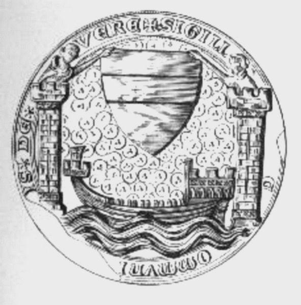 Stadszegel van Veere met kogge, tweede helft veertiende eeuw.