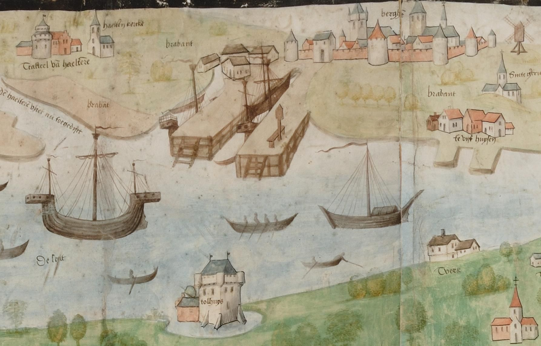 Deel van de Scheldekaart uit 1504, met het tolhuis van Iersekeroord (onder) en tal van handelsschepen.