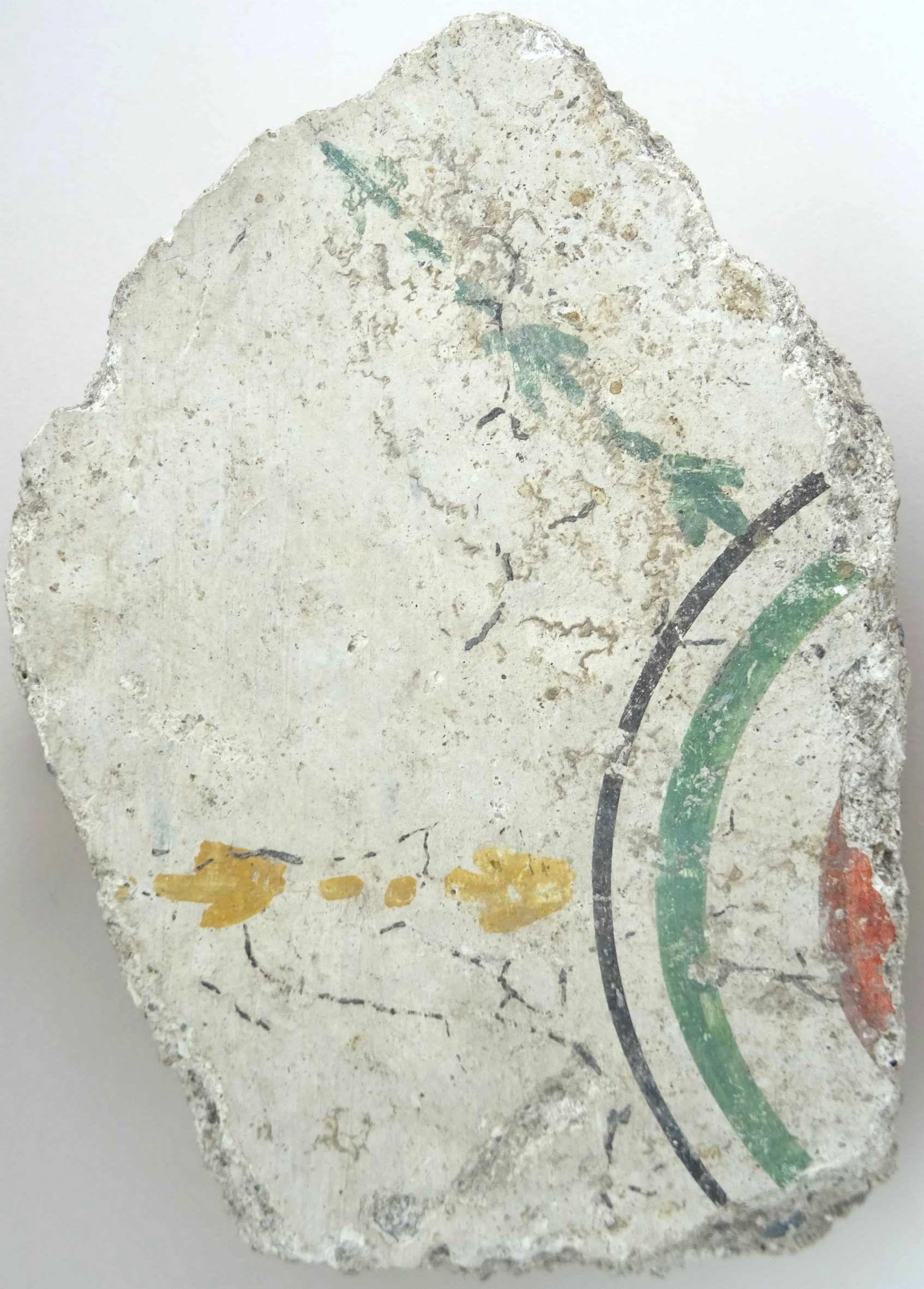 Romeinse muurschildering met behangpatroon uit Aardenburg (SCEZ).