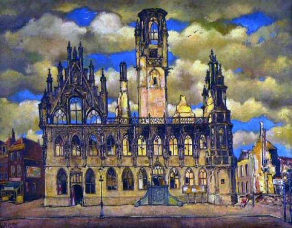 middelburg holland schilderij door reimond kimpe van het stadhuis na bombardement op 17 mei 1940 stadhuiscollectie tourist info